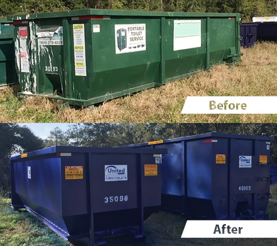 Arwood Site Services Dumpster Rebranding Before and After